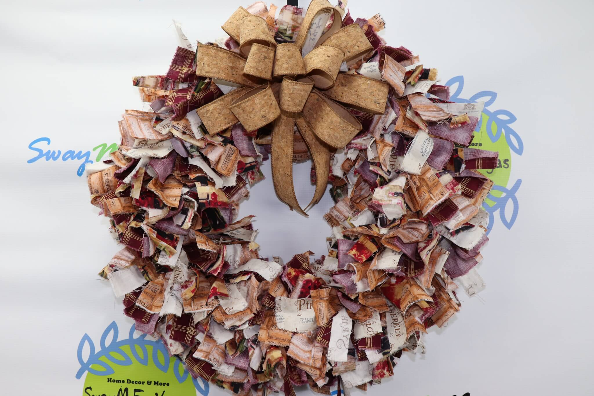 Wine Rag Wreath with Cork Ribbon