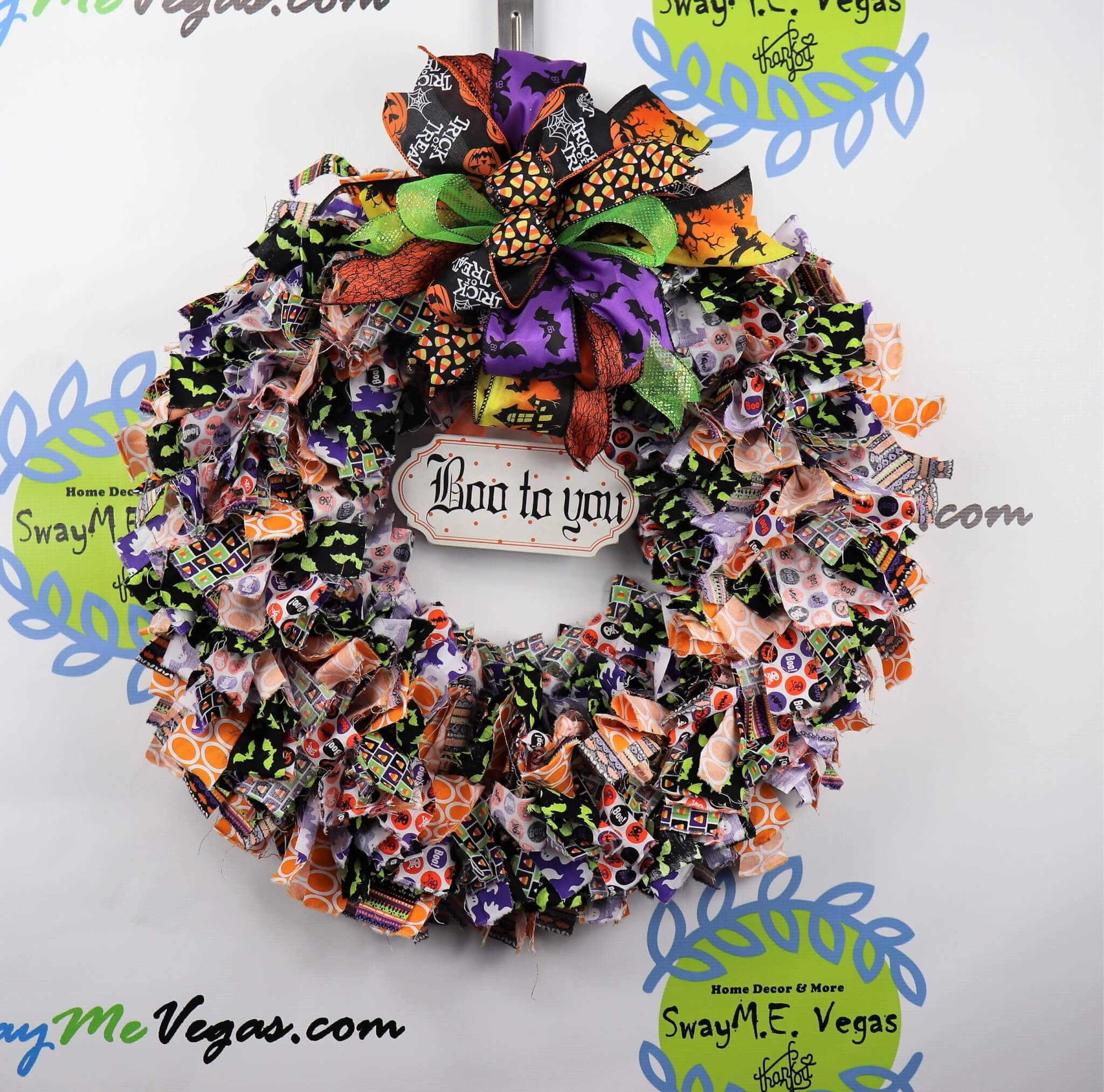 Boo to You Halloween Rag Wreath