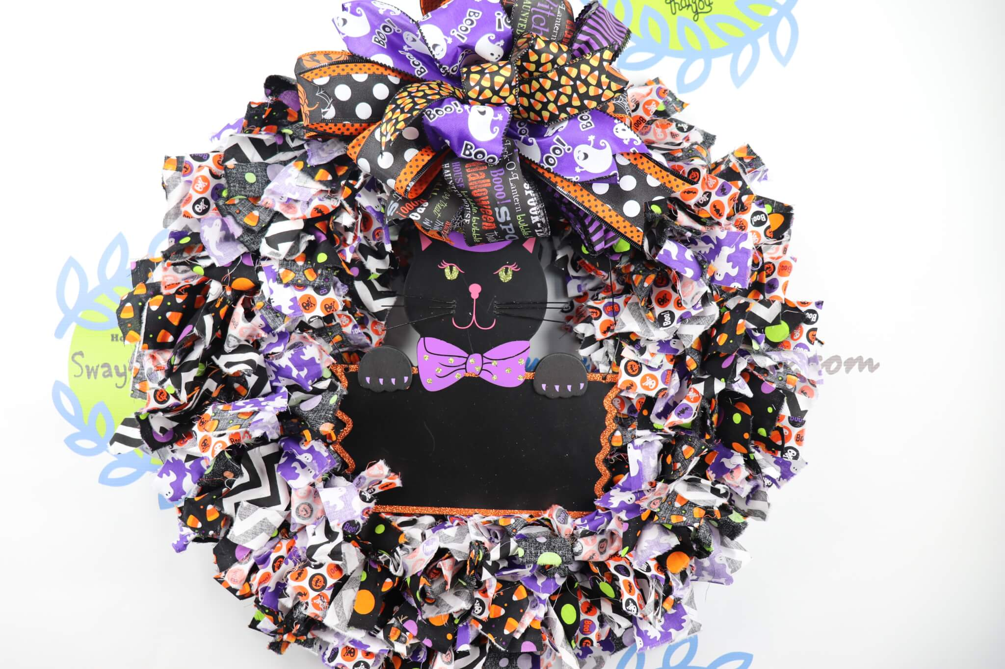 Black Cat Halloween Rag Wreath