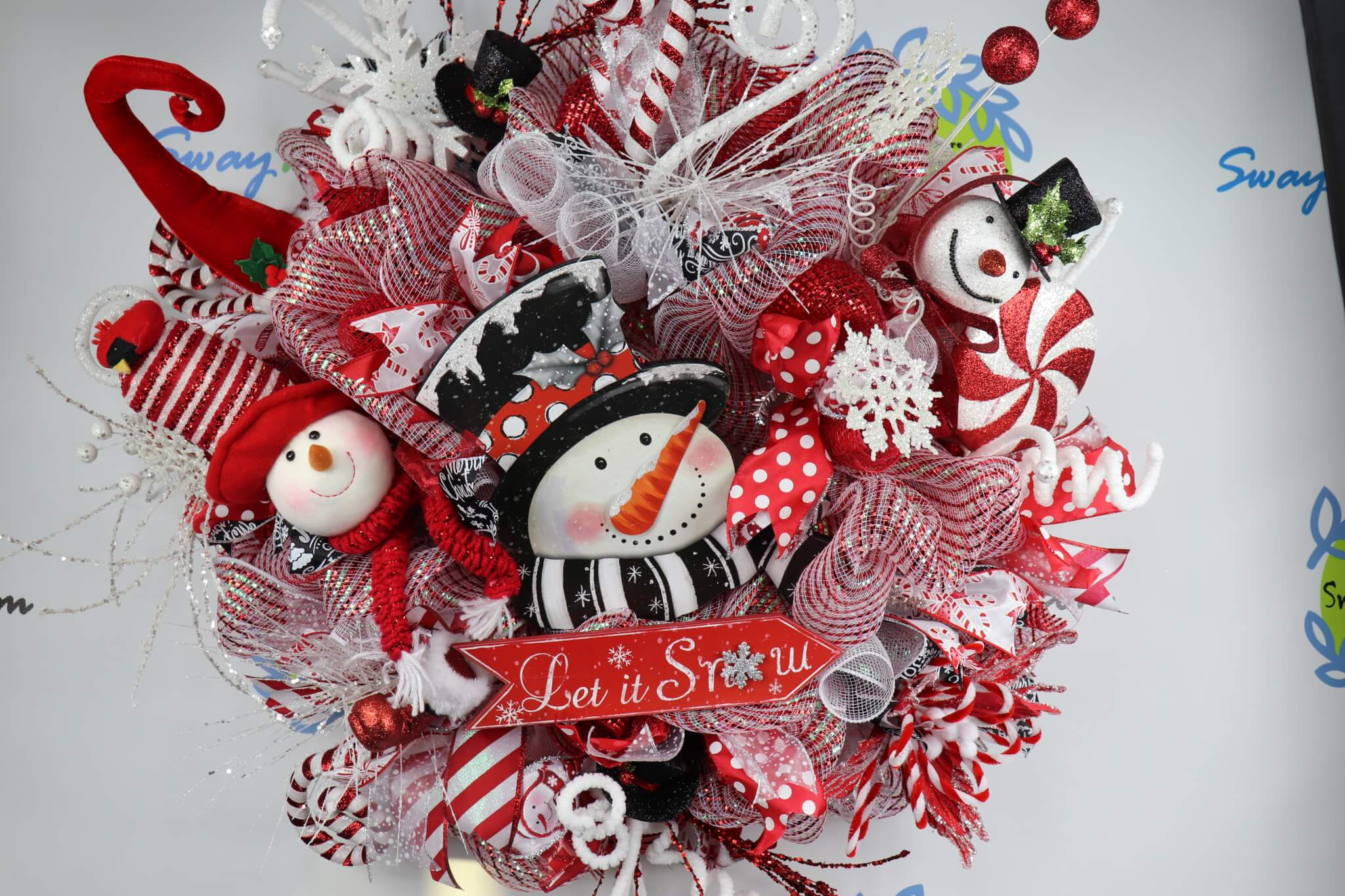 Let It Snow Snowman Christmas Wreath