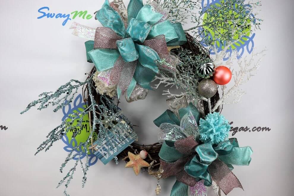 coral beach decor christmas wreath home decor wreaths garland centerpieces door swags company in las vegas - Beach Christmas Wreath