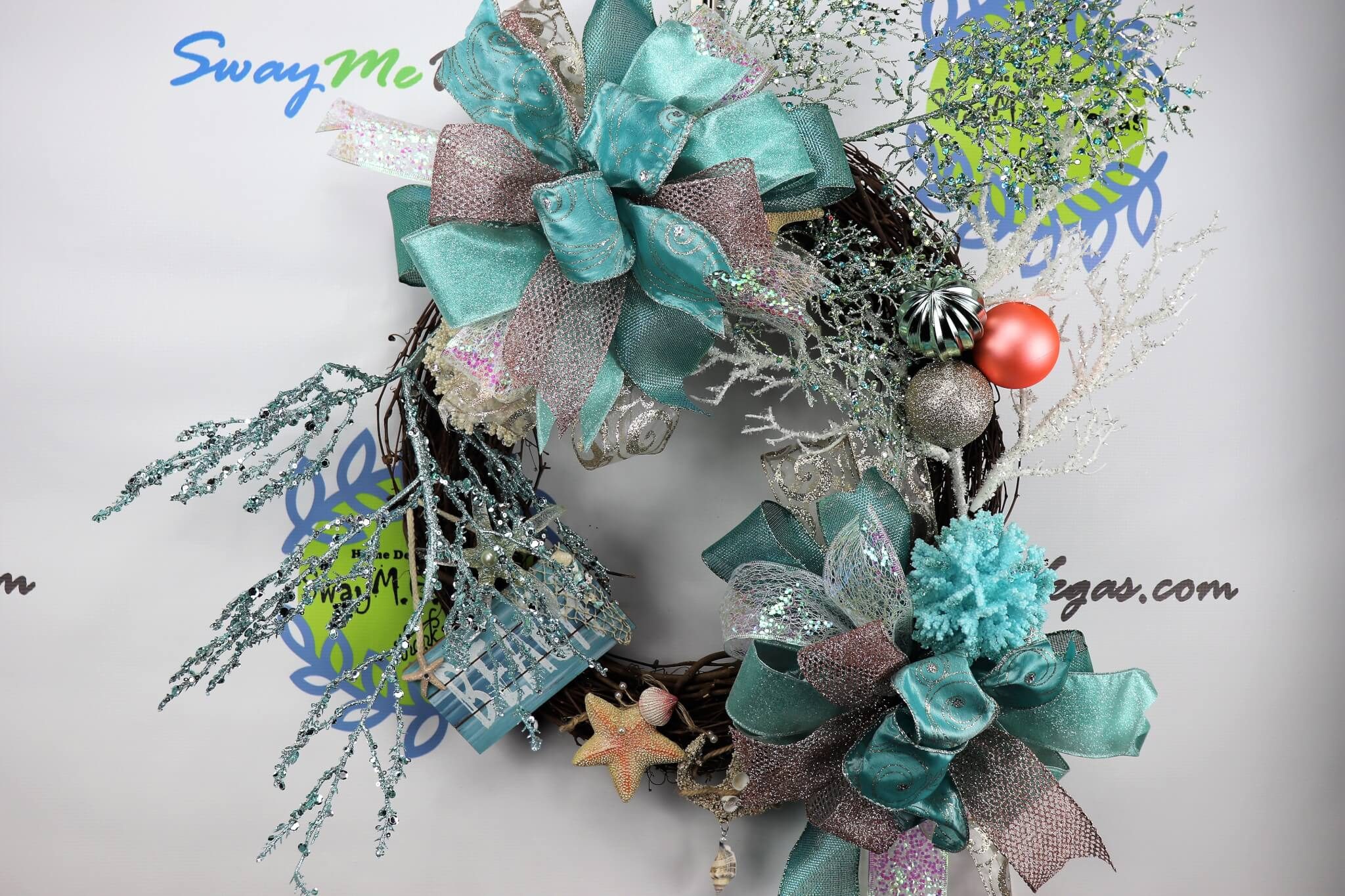 Coral Beach Decor Christmas Wreath