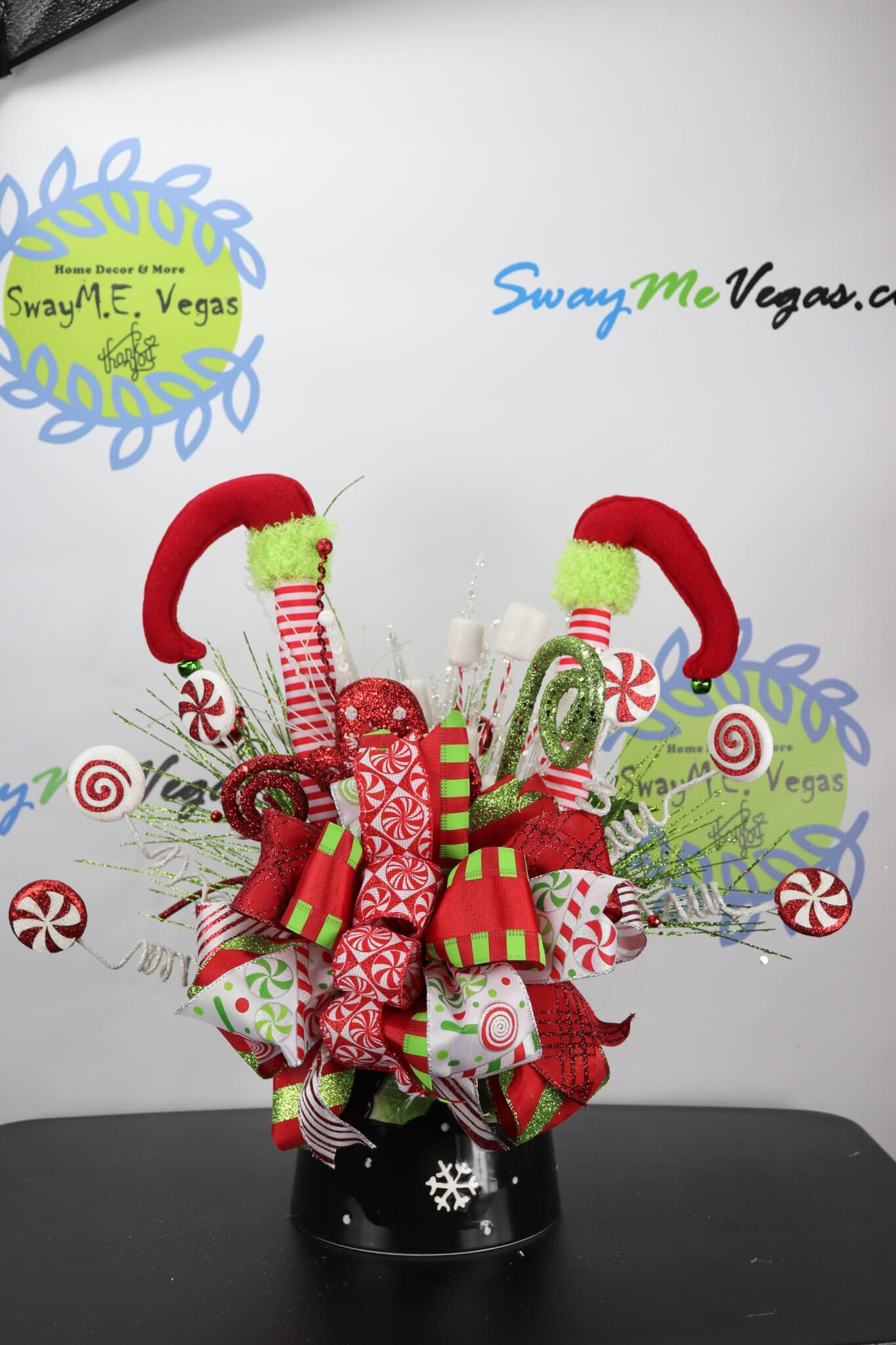 Elf Legs Christmas Table Centerpiece