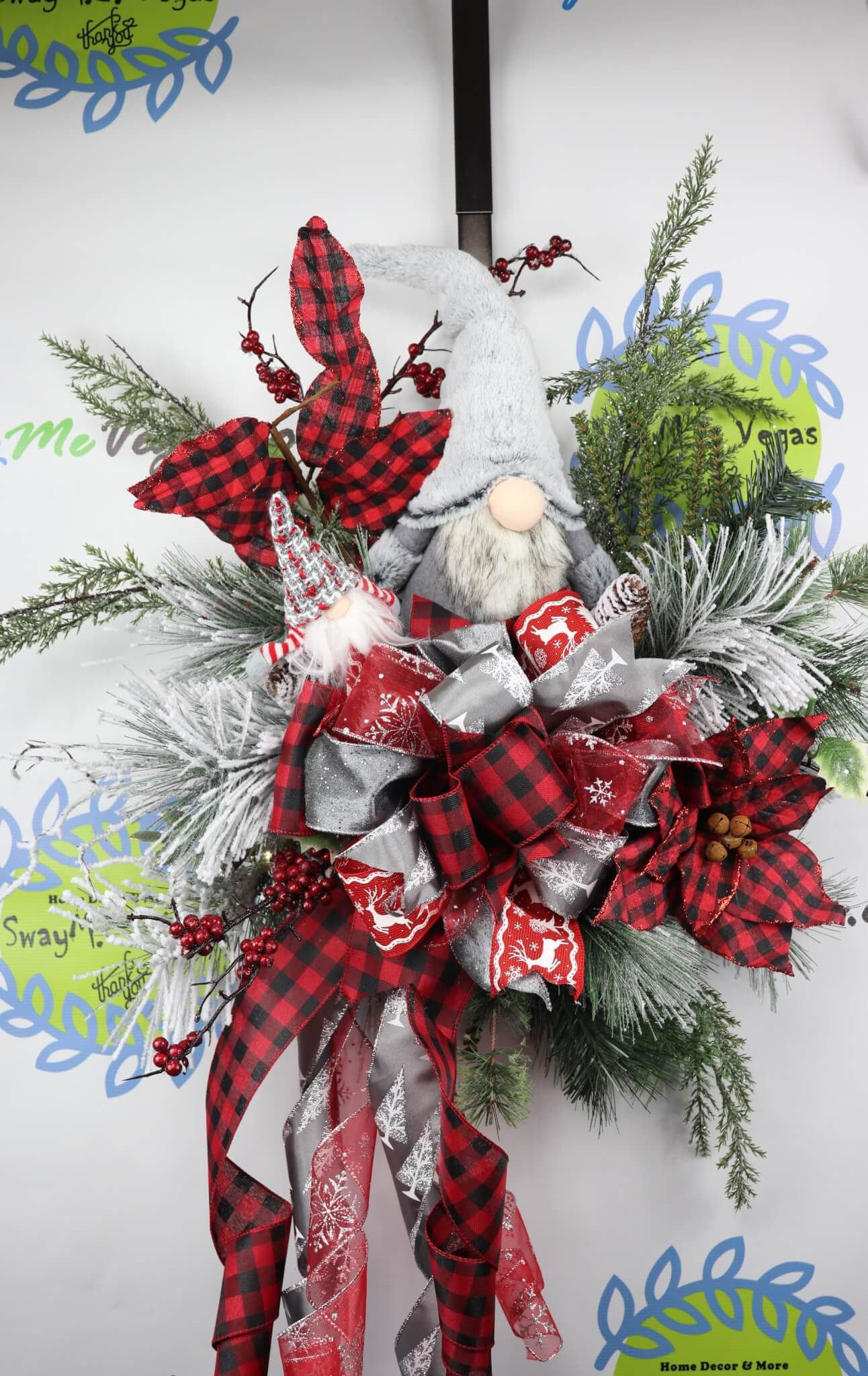 Gnome-Christmas-Door-Hanger-Buffalo-Plaid-2 Gnome Door Wreath