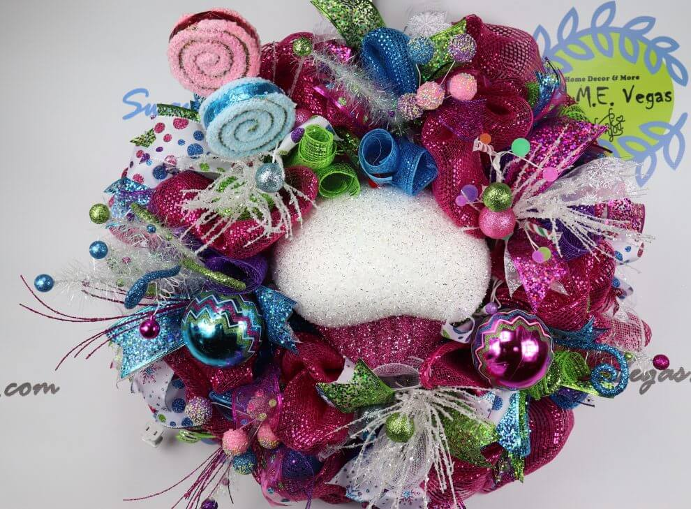 lighted whimsical candy christmas wreath home decor wreaths garland centerpieces door swags company in las vegas