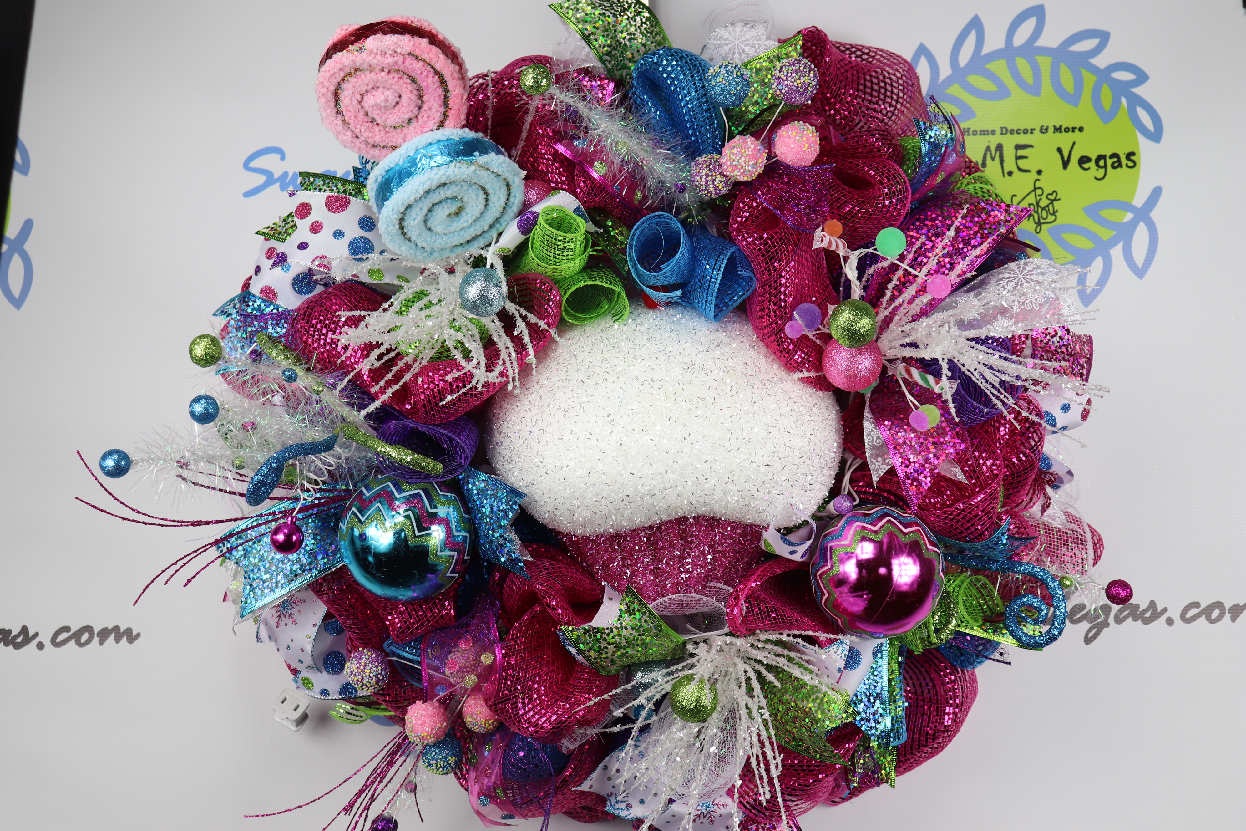 Whimsical-Lighted-Candy-Christmas-Wreath-1 Lighted Whimsical Candy Christmas Wreath
