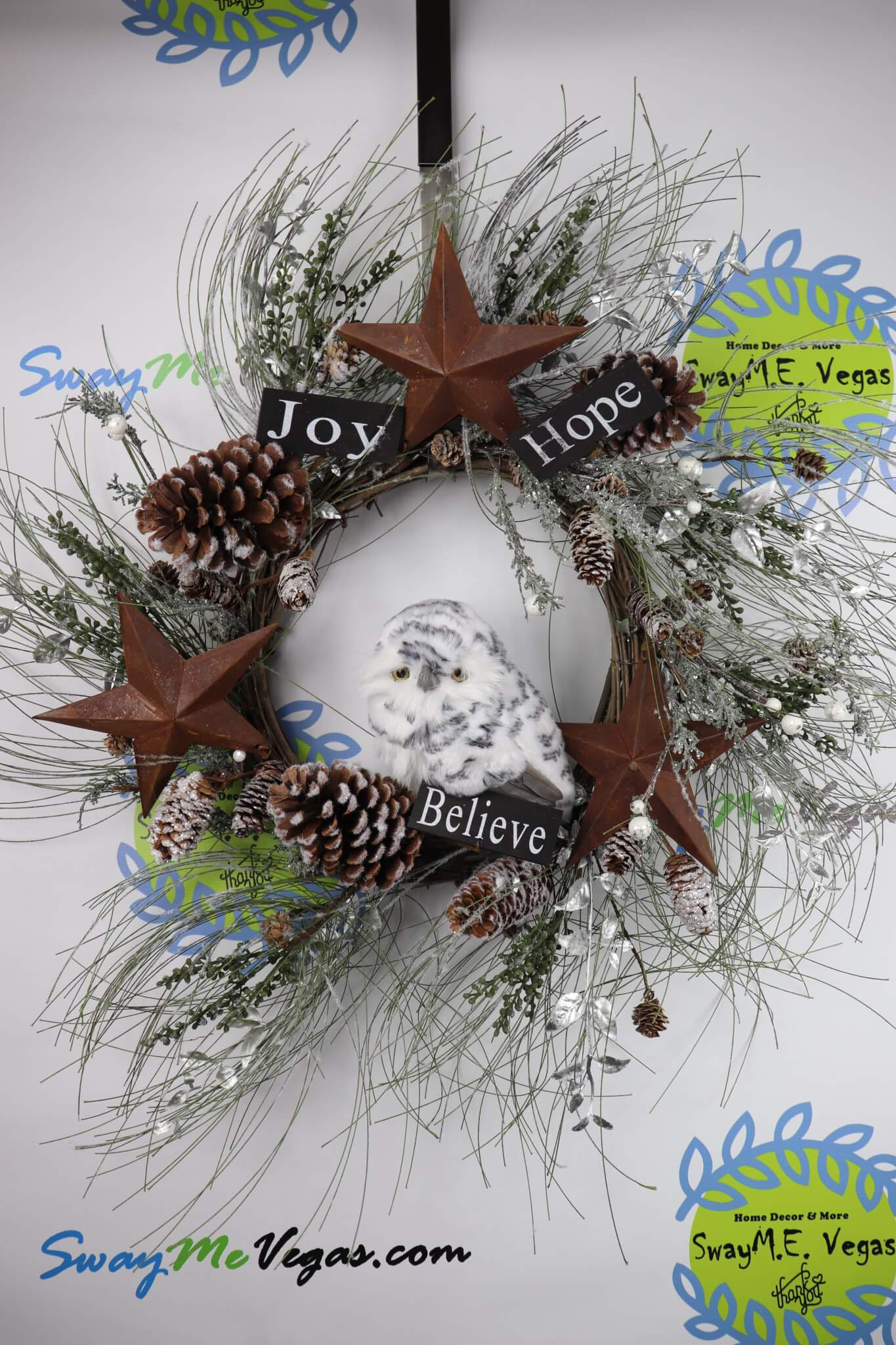 Woodland-Hope-Believe-Joy-Rustic-Christmas-Wreath-with-Owl-Pinecones-1-e1510554519715 Rustic Woodland Owl Christmas Wreath