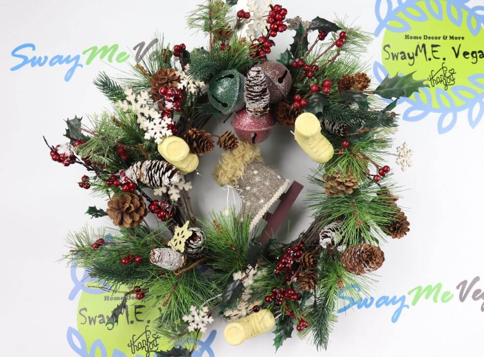 Woodland Skates And Bells Christmas Wreath Home Decor Wreaths
