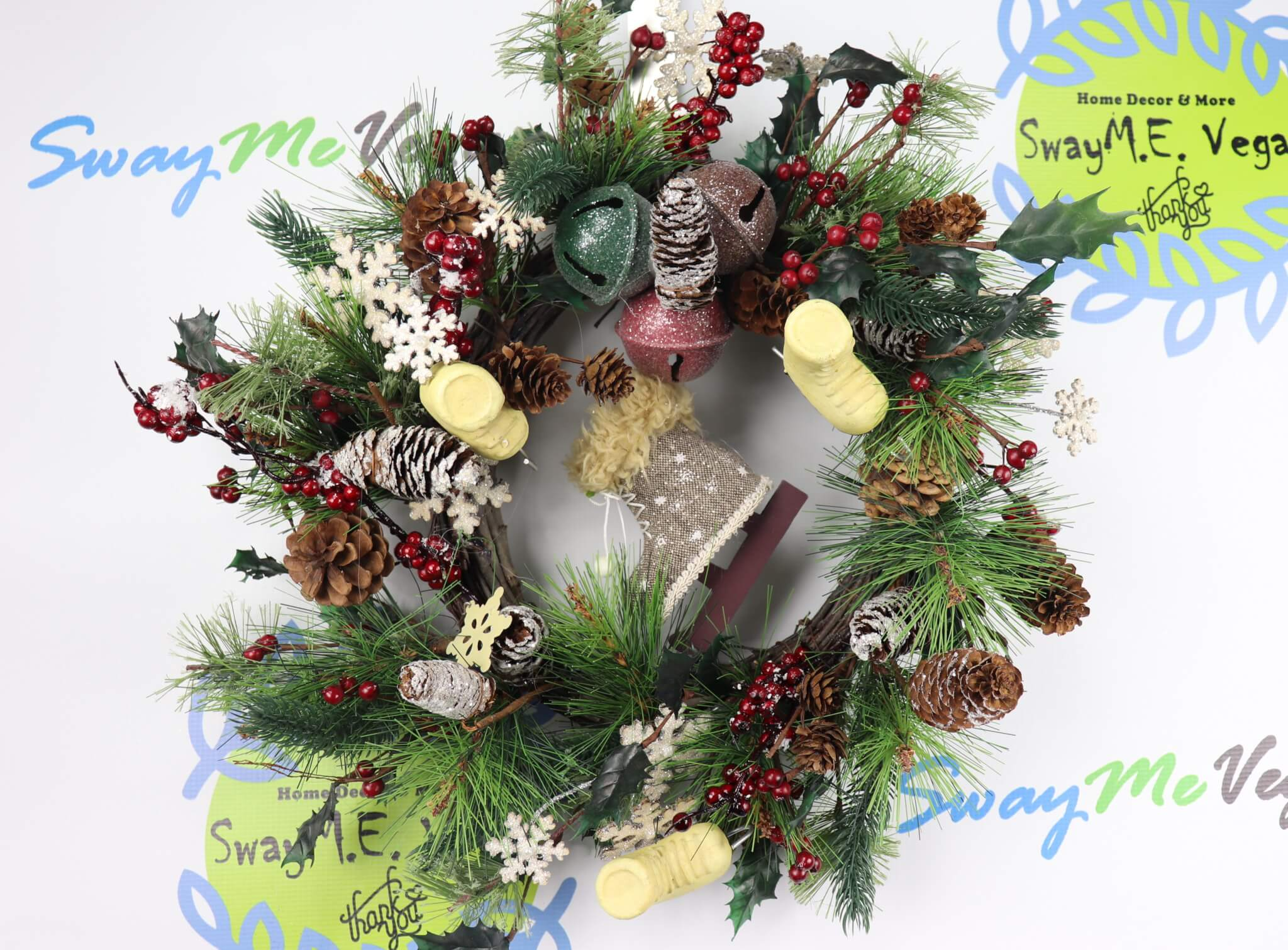 Woodland Skates and Bells Christmas Wreath