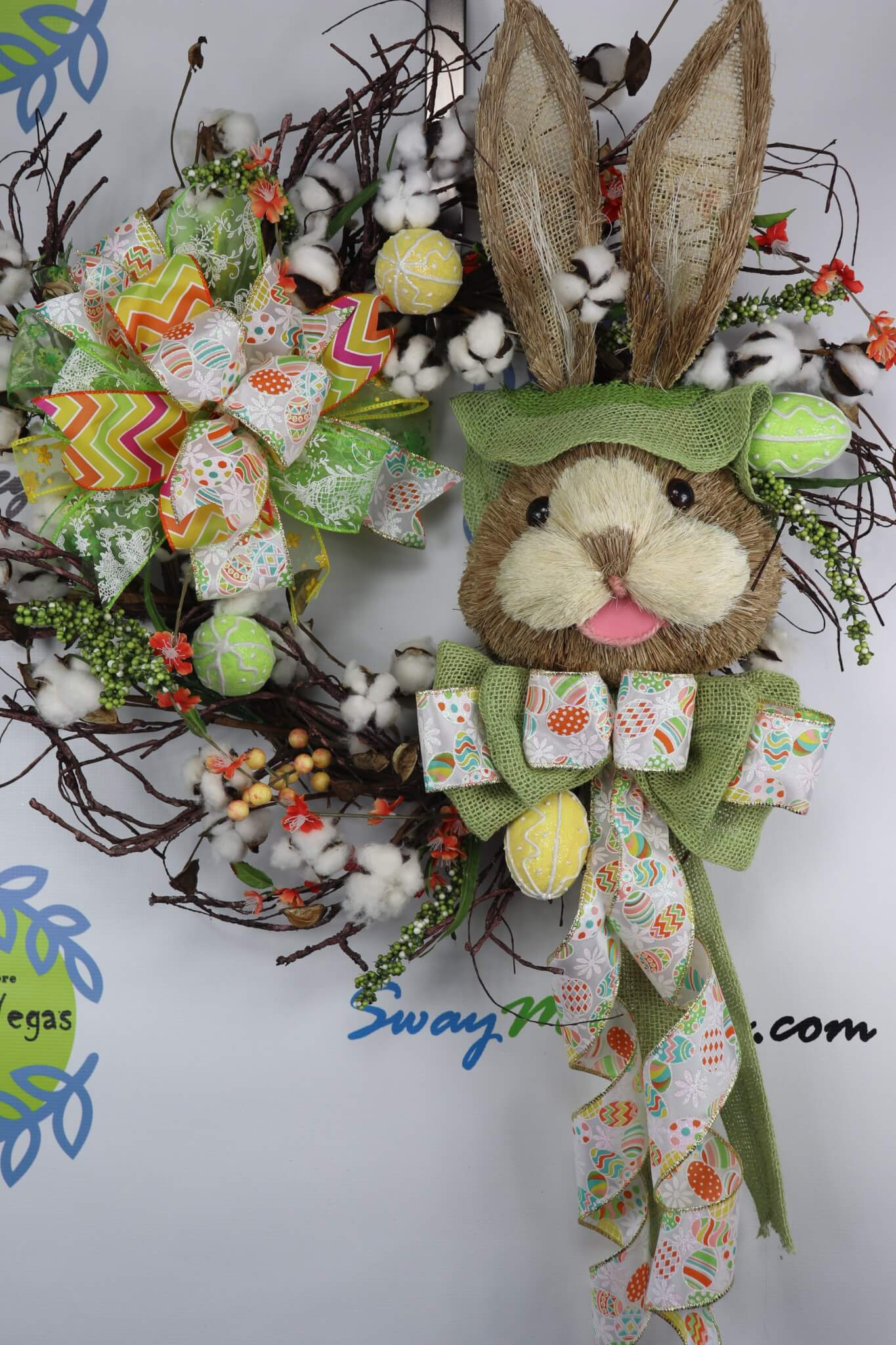 Easter Bunny Cotton Grapevine Wreath Green