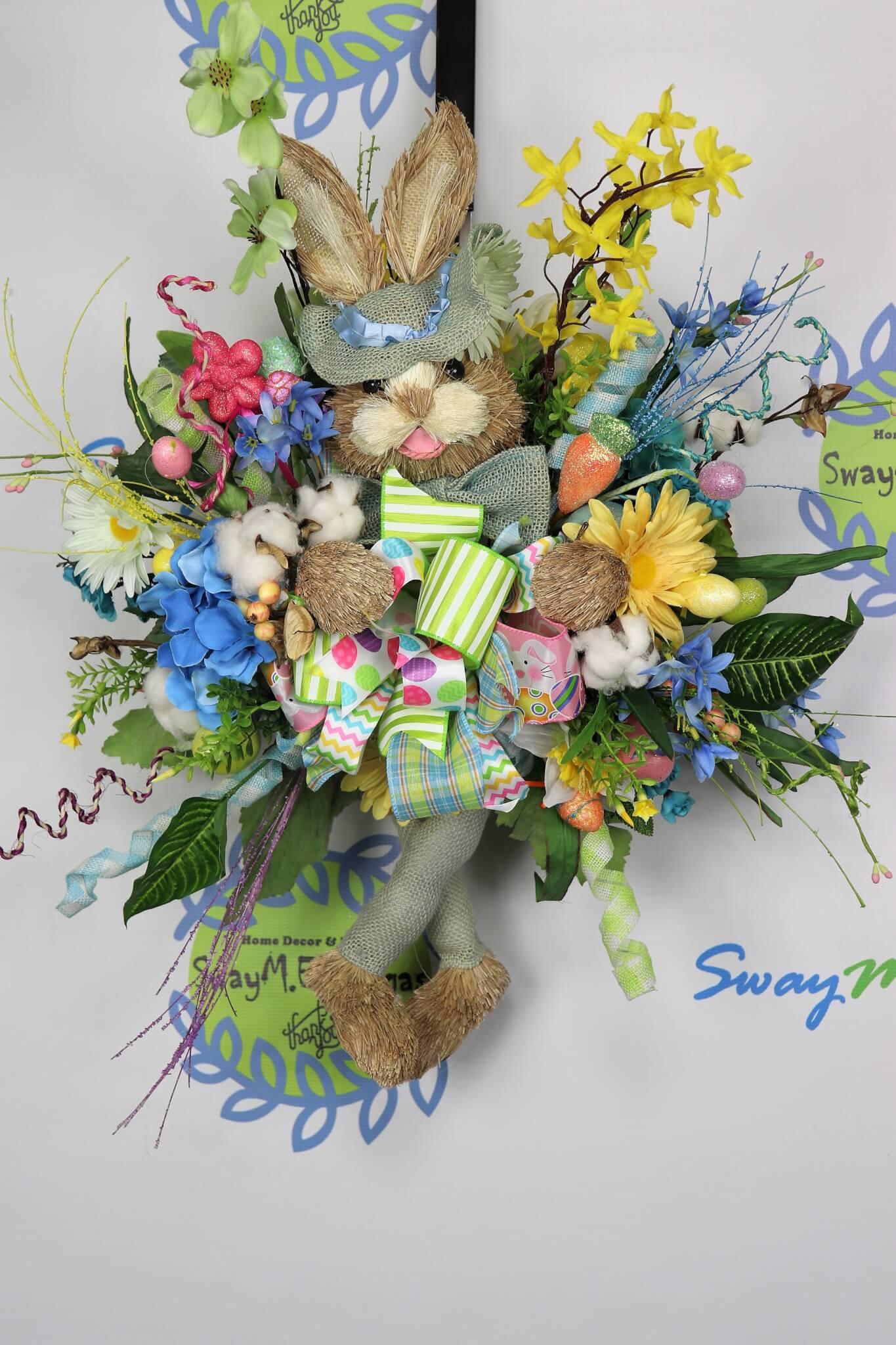 Easter-Bunny-Door-Swag-Wreath-6 Easter Bunny Door Hanger