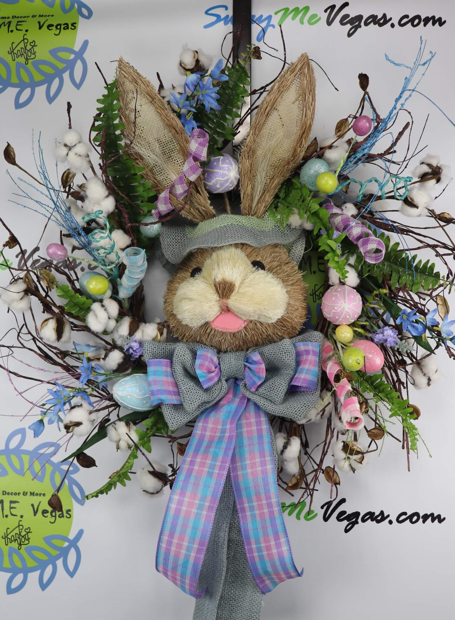 Bunny-Easter-Cotton-Wreath-Grapevine-Blue-0 Easter Bunny Cotton Boll Grapevine