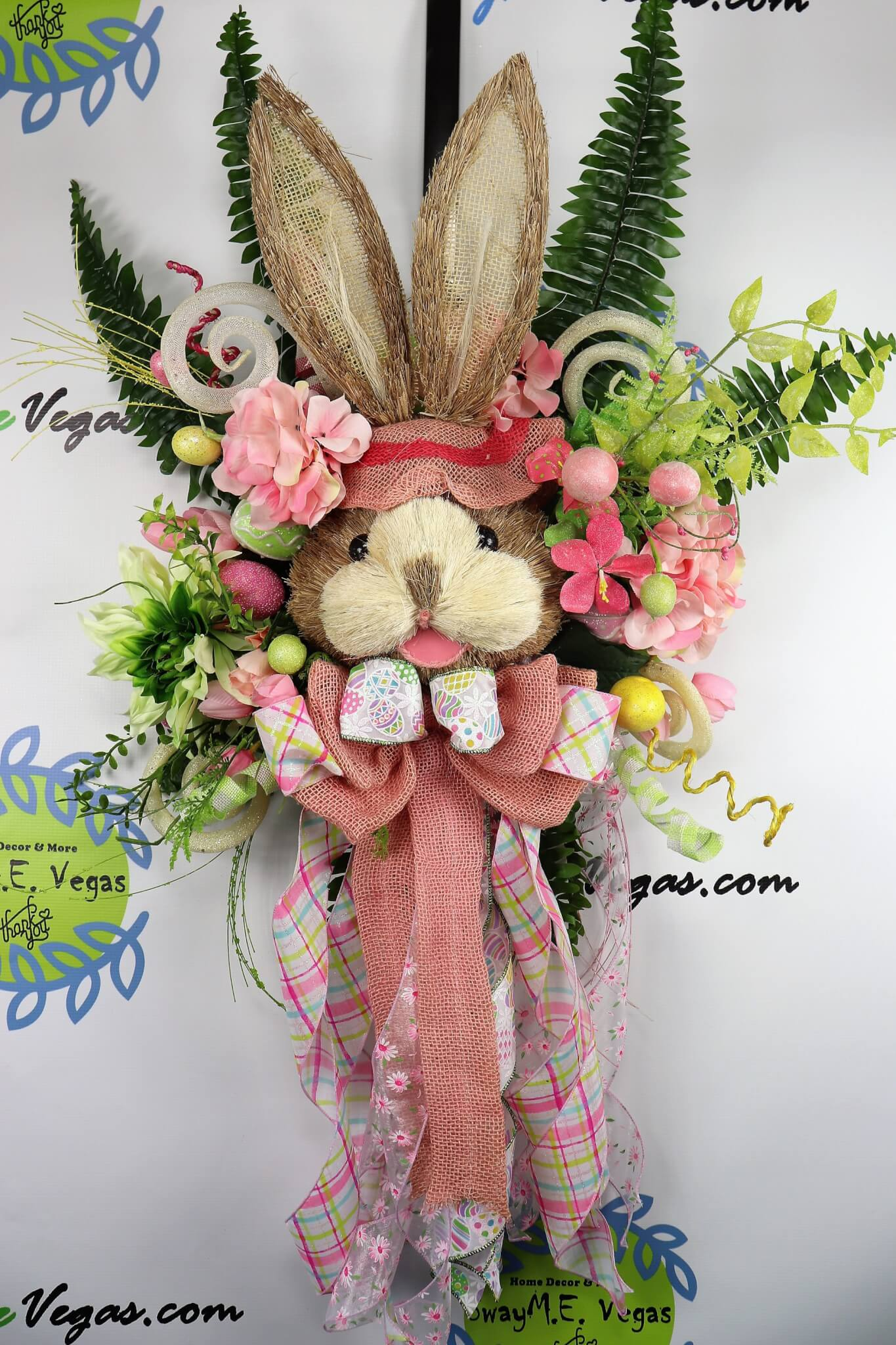 Pink Green Bunny Door Hanger Easter