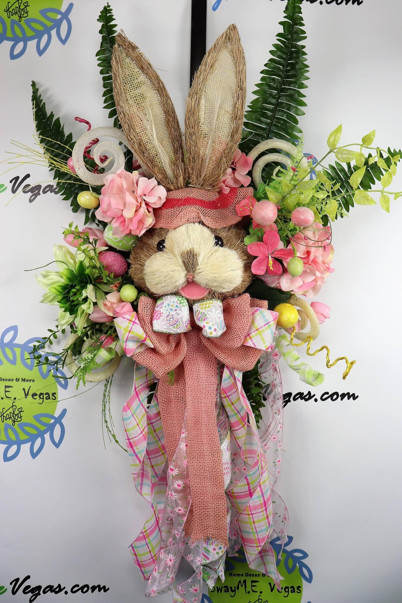 Pink Green Bunny Door Hanger Easter