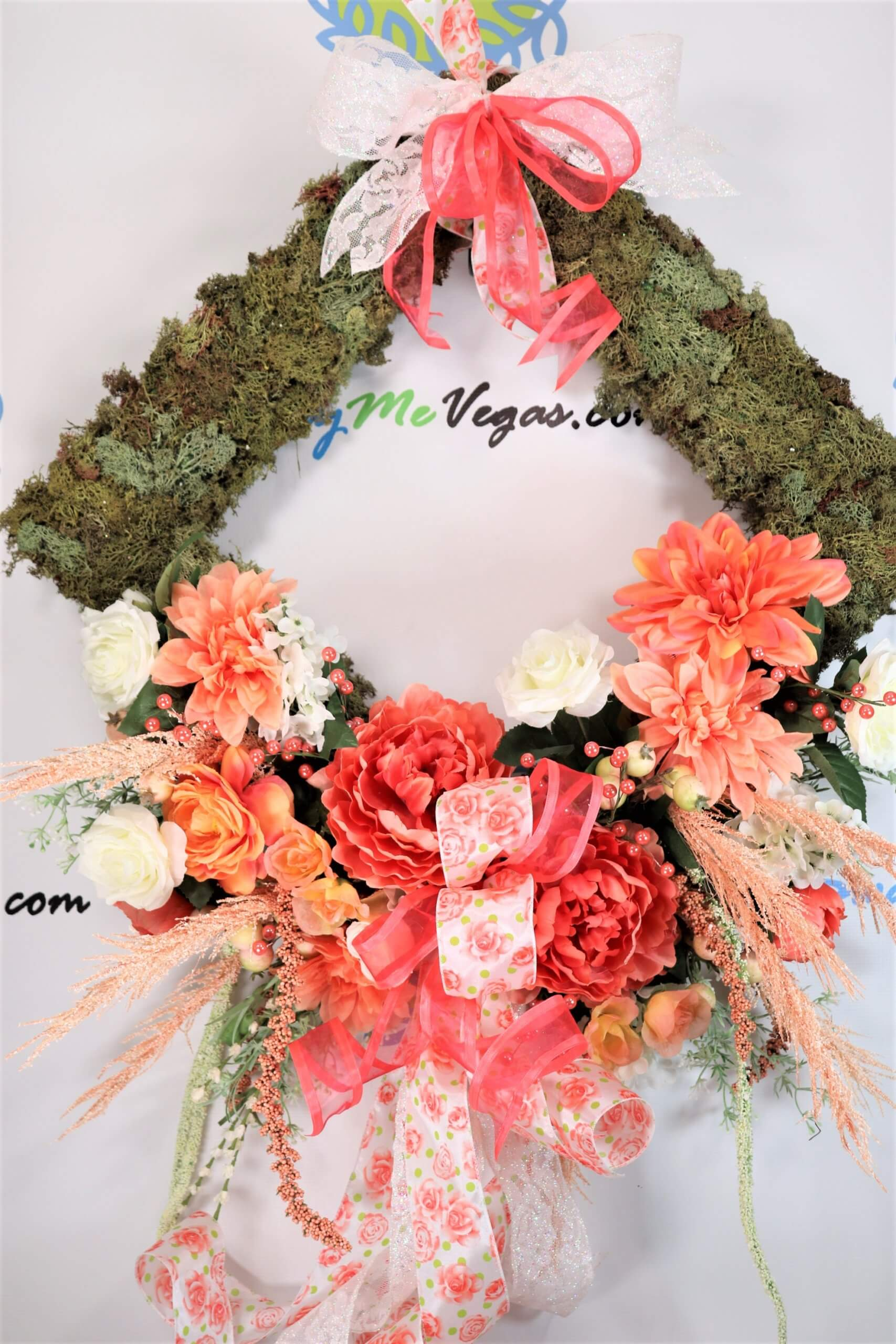Spring Floral Moss Wreath Peach