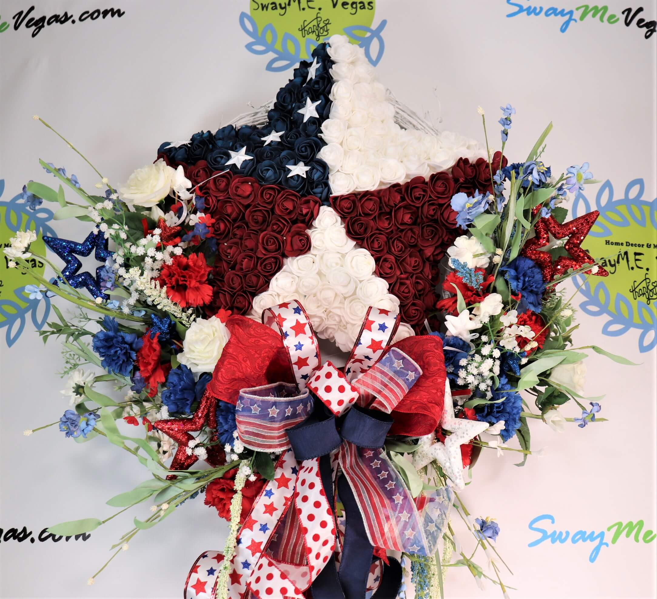 Patriotic Rose Star Fourth of July Wreath