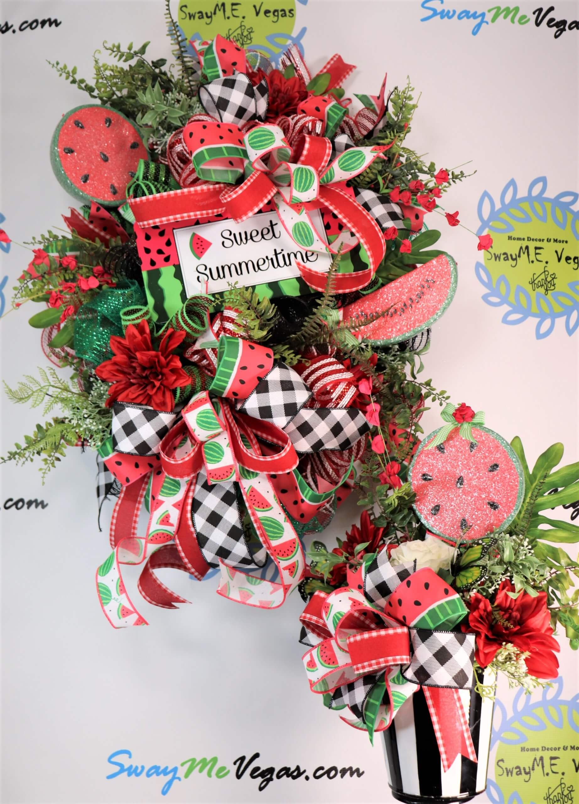 Summer Watermelon Door Hanger and Centerpiece Duo