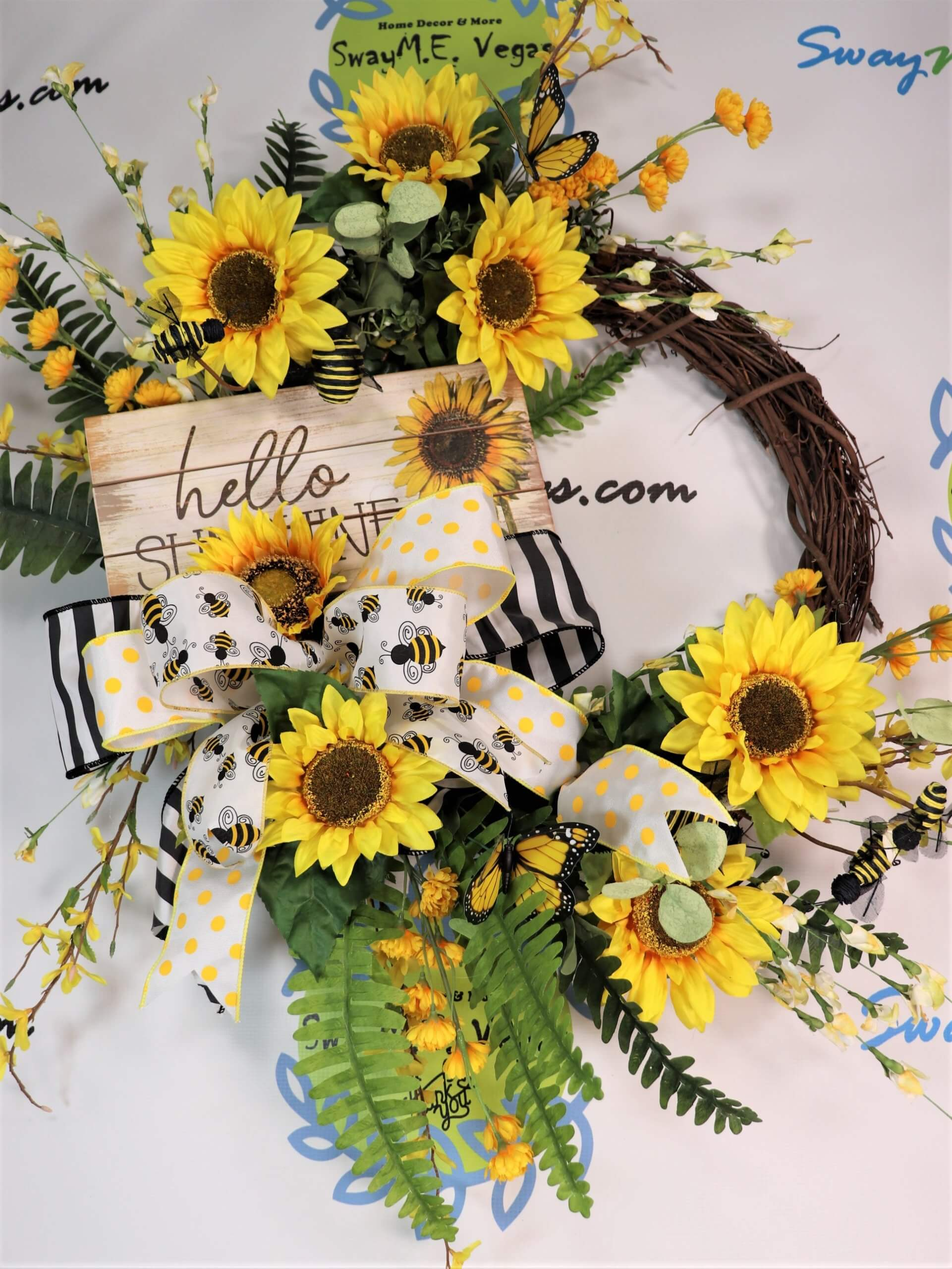 Summer Yellow Sunflower Bee Butterfly Wreath