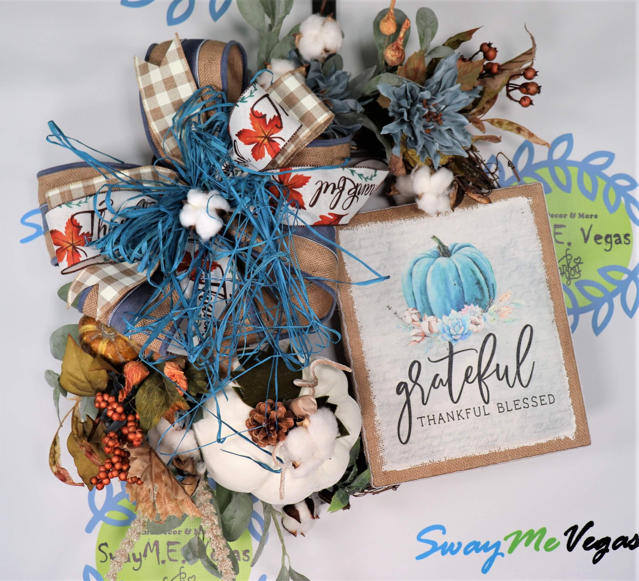 Fall Wreath Grateful Thankful Blessed Blue Pumpkin
