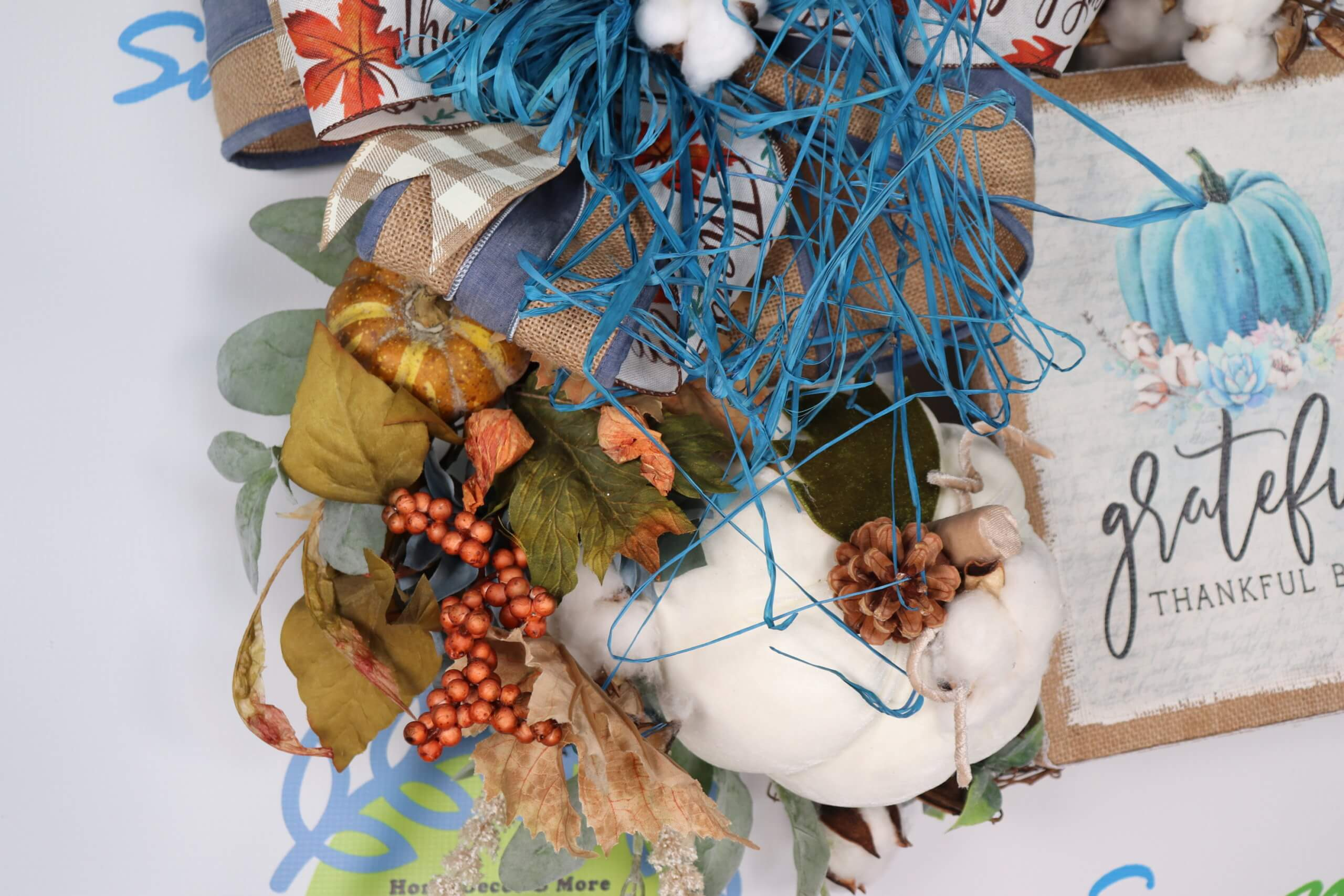 Fall Wreath Grateful Thankful Blessed Blue Pumpkin Swaym E Vegas