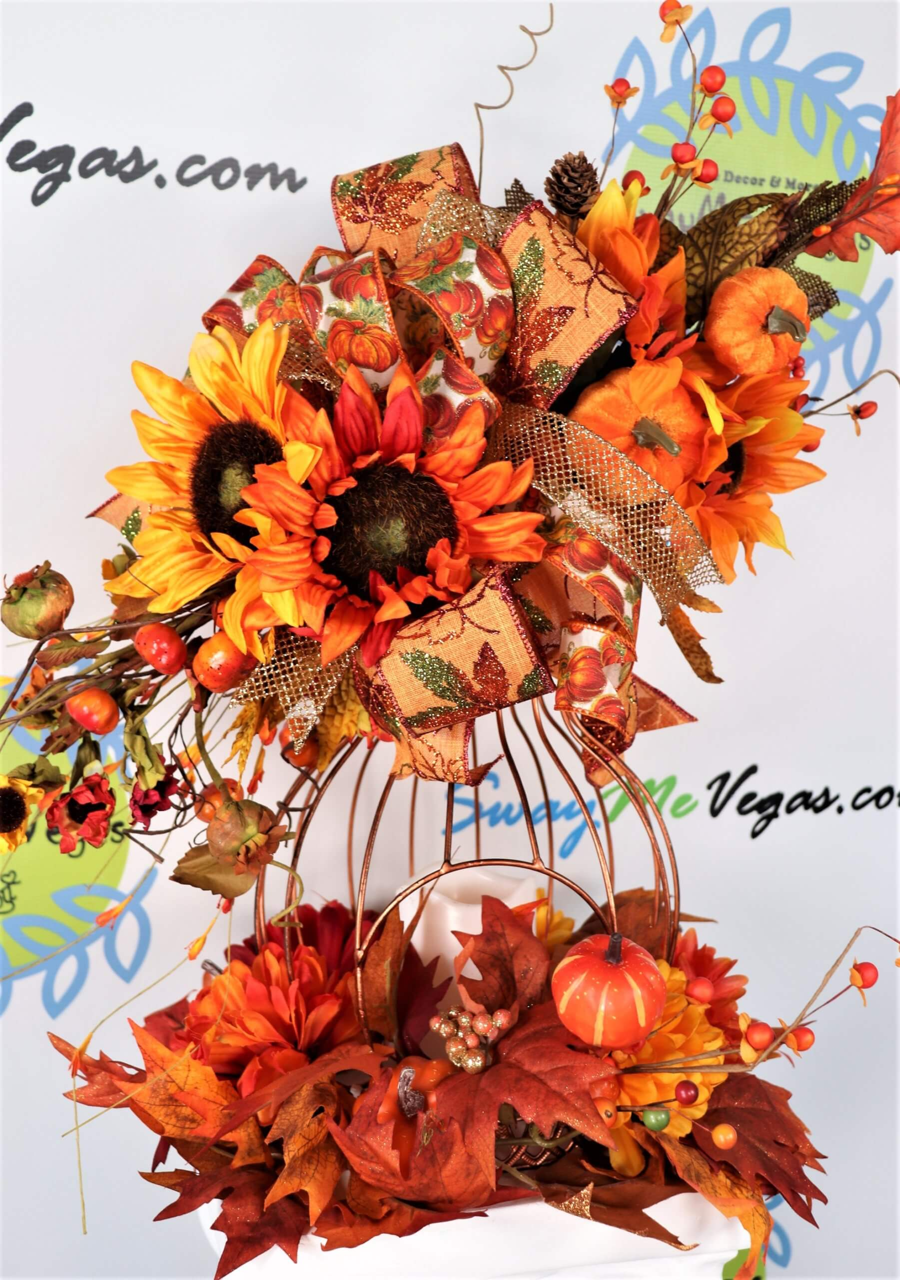 Fall Pumpkin Centerpiece with Candle