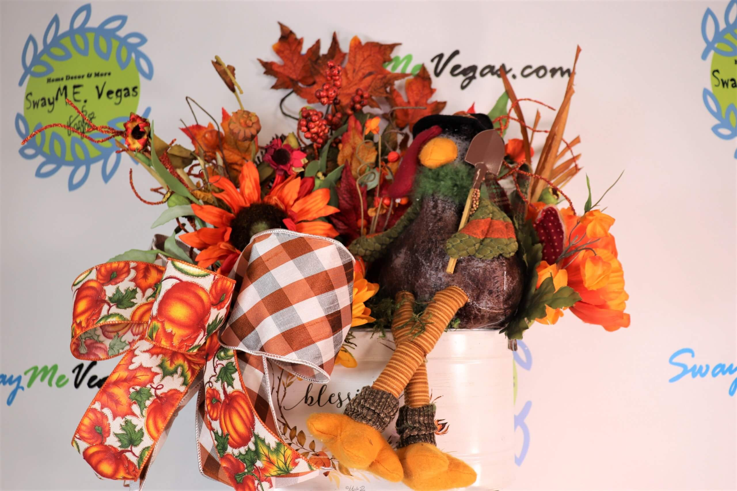 Fall Thanksgiving Turkey Centerpiece Floral Arrangement