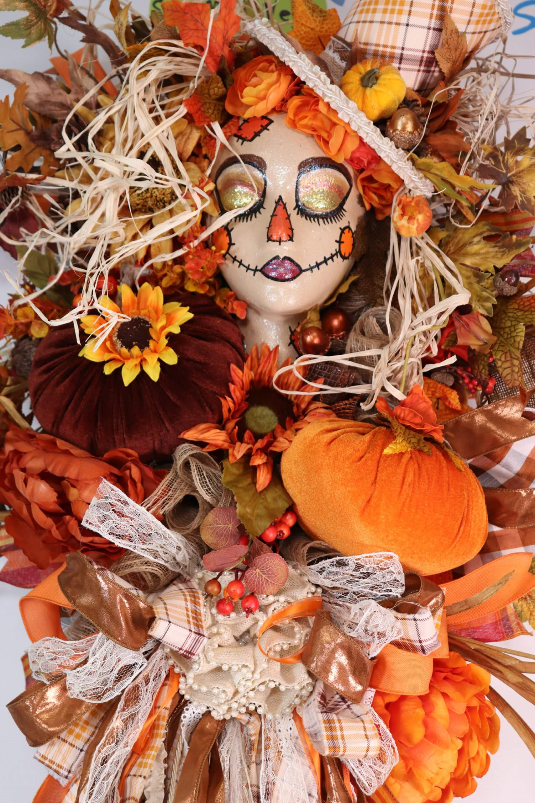 Fall Scarecrow Door Wreath Mannequin Head Swaym E Vegas