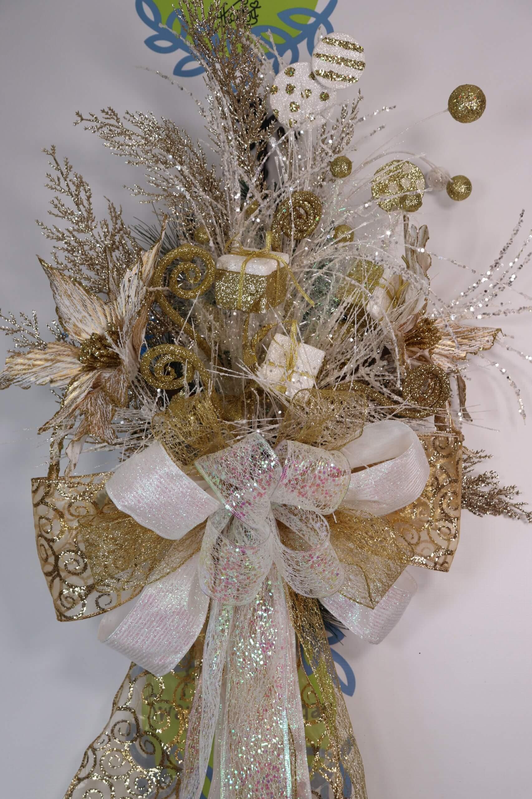 Christmas Tree Topper Gold White