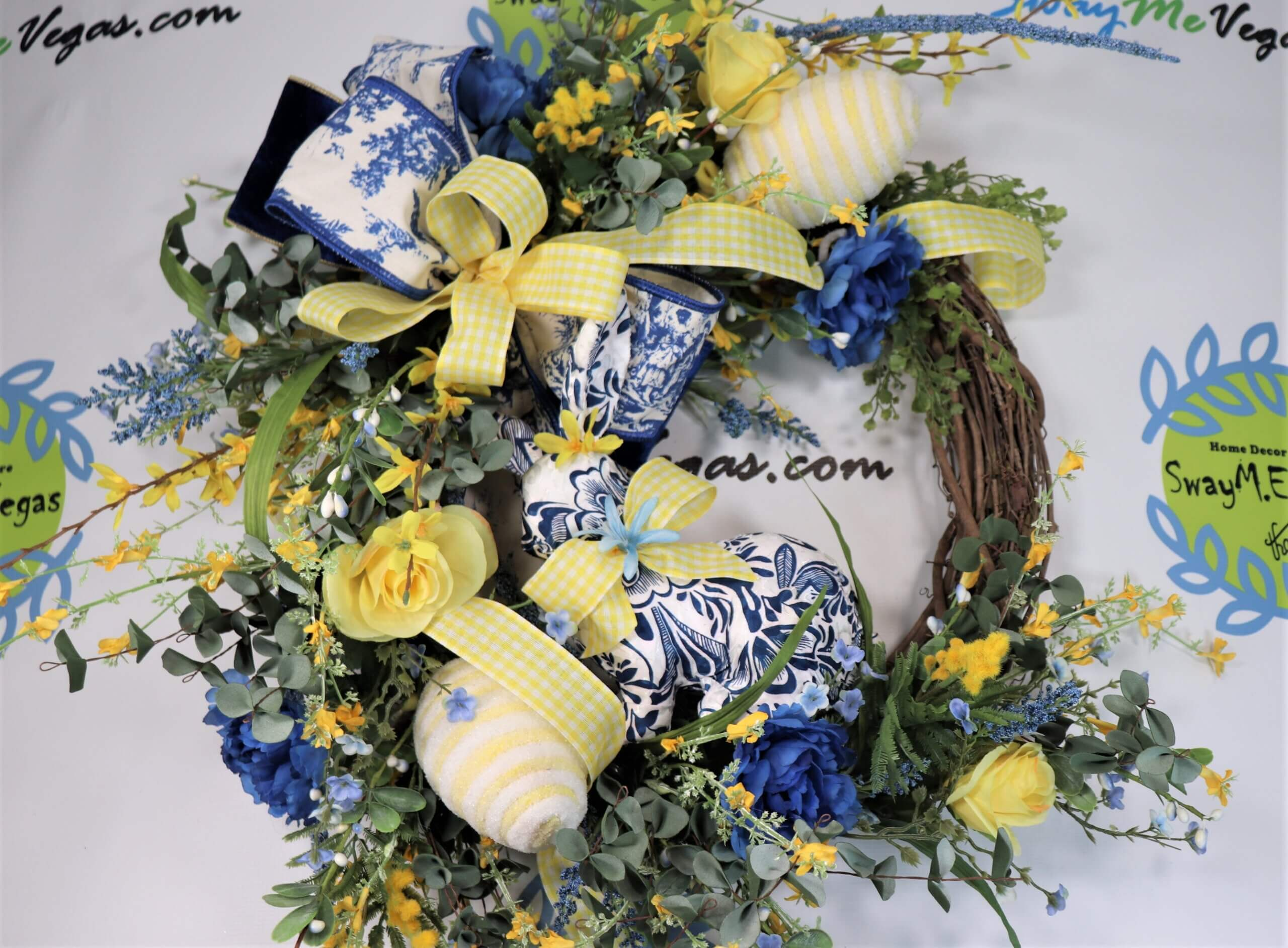 Easter Spring Blue Yellow Chinoserie Grapevine Wreath 1 scaled