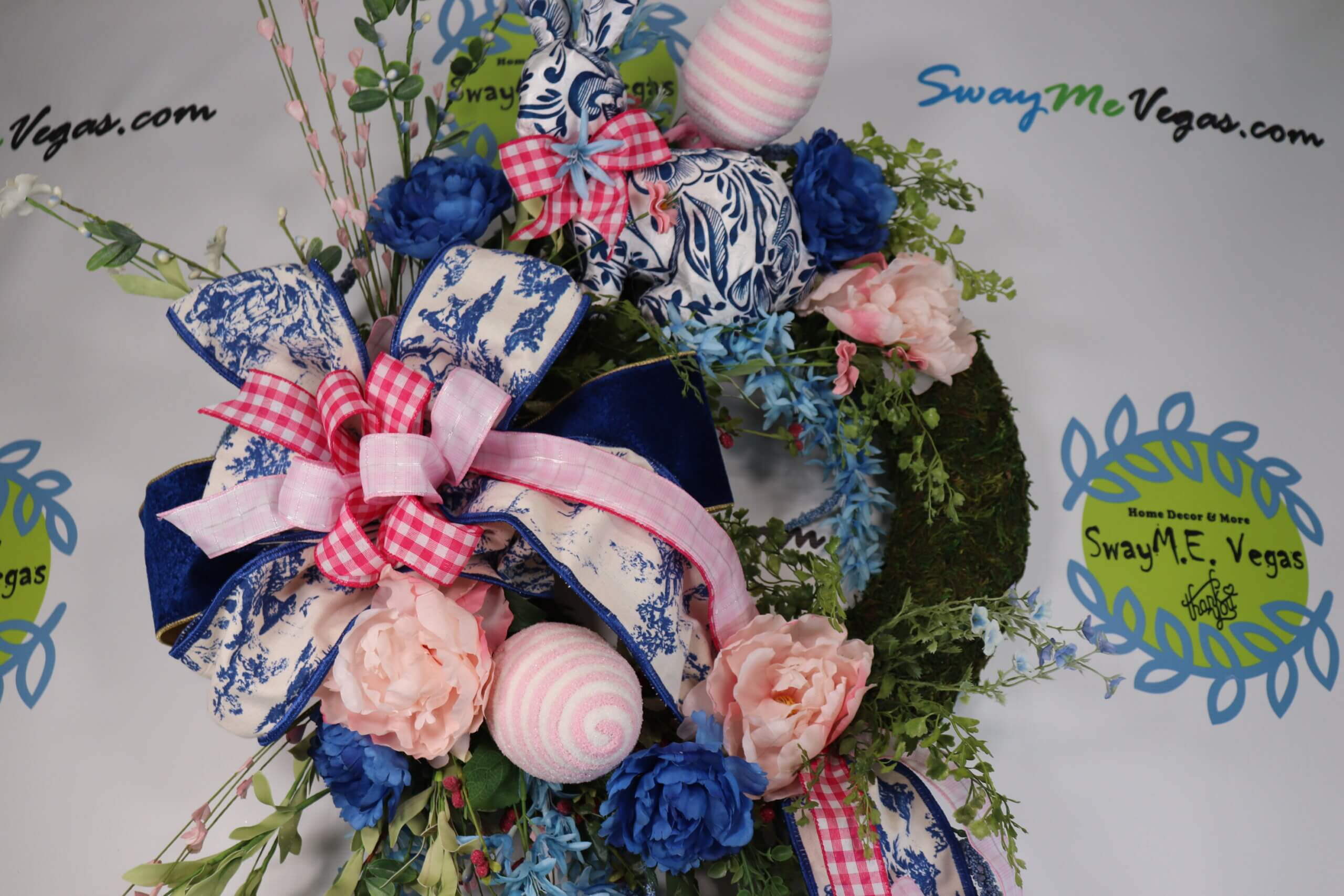 Easter Spring Pink Blue Chinoserie Moss Wreath 0 scaled