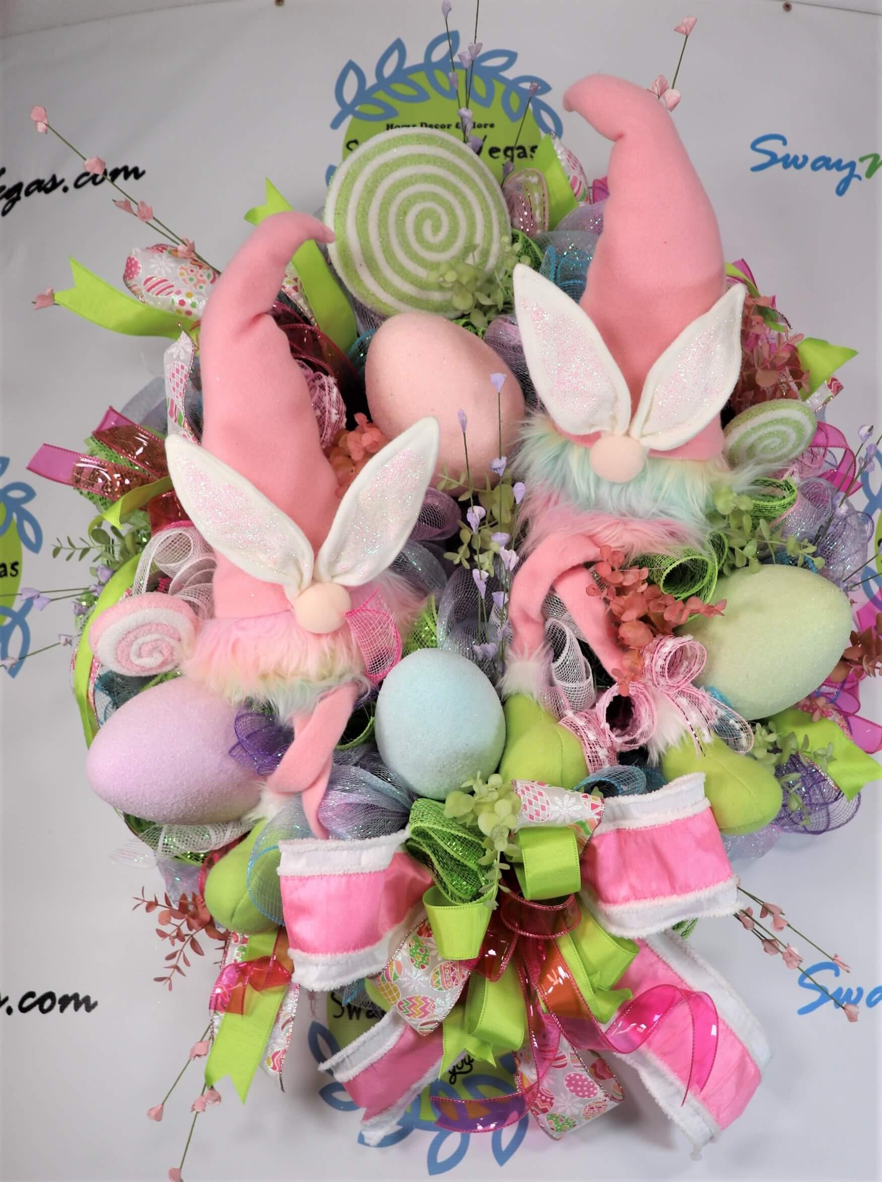 Gnome Easter Wreath Pastel Rainbow 1