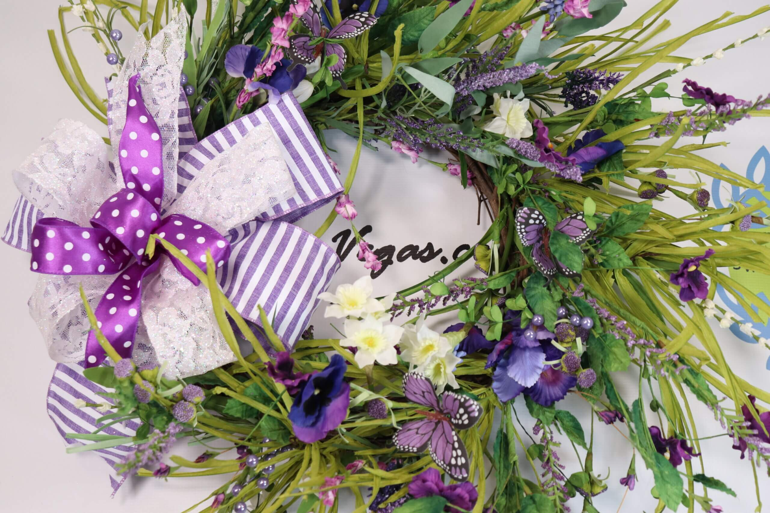 Spring Floral Wreath Purple White Iris Butterflies 1 scaled