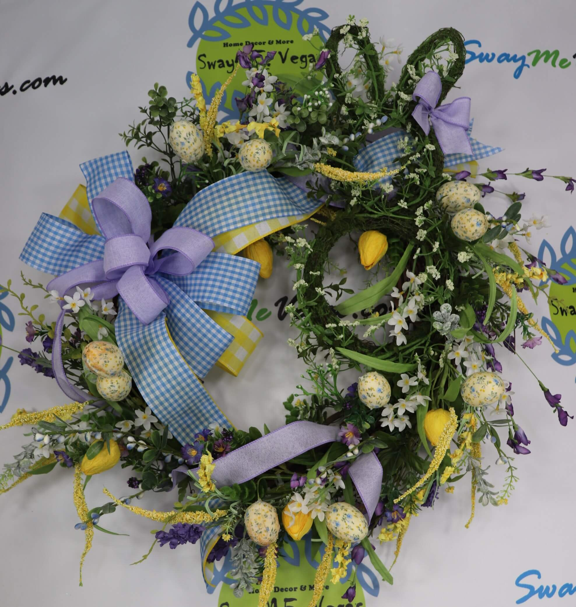 Grapevine Easter Wreath with Tulips Floral Eggs and Floral Rabbit 0 1