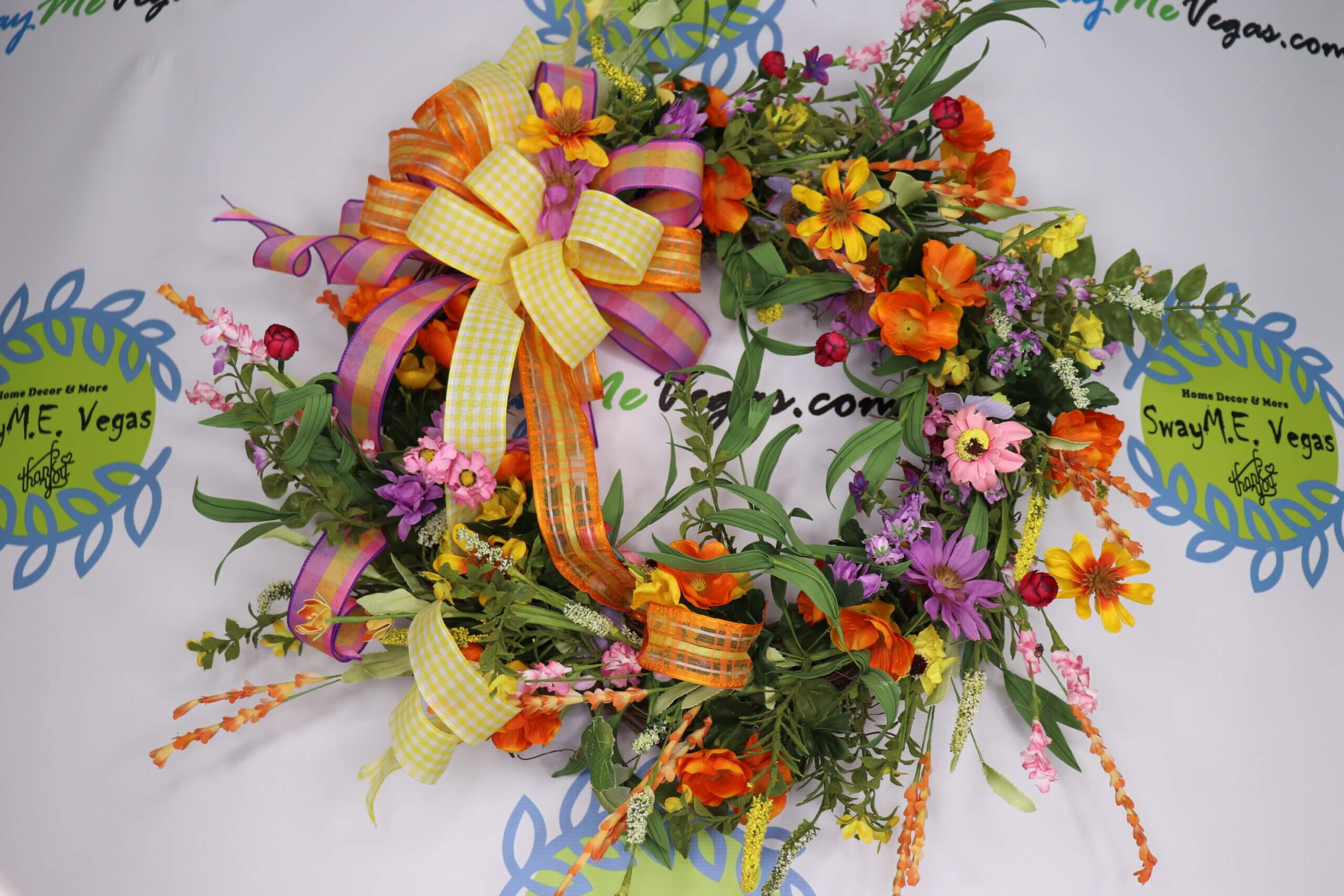 Spring Wildflower Wreath Orange Purple Yellow Pink2 scaled