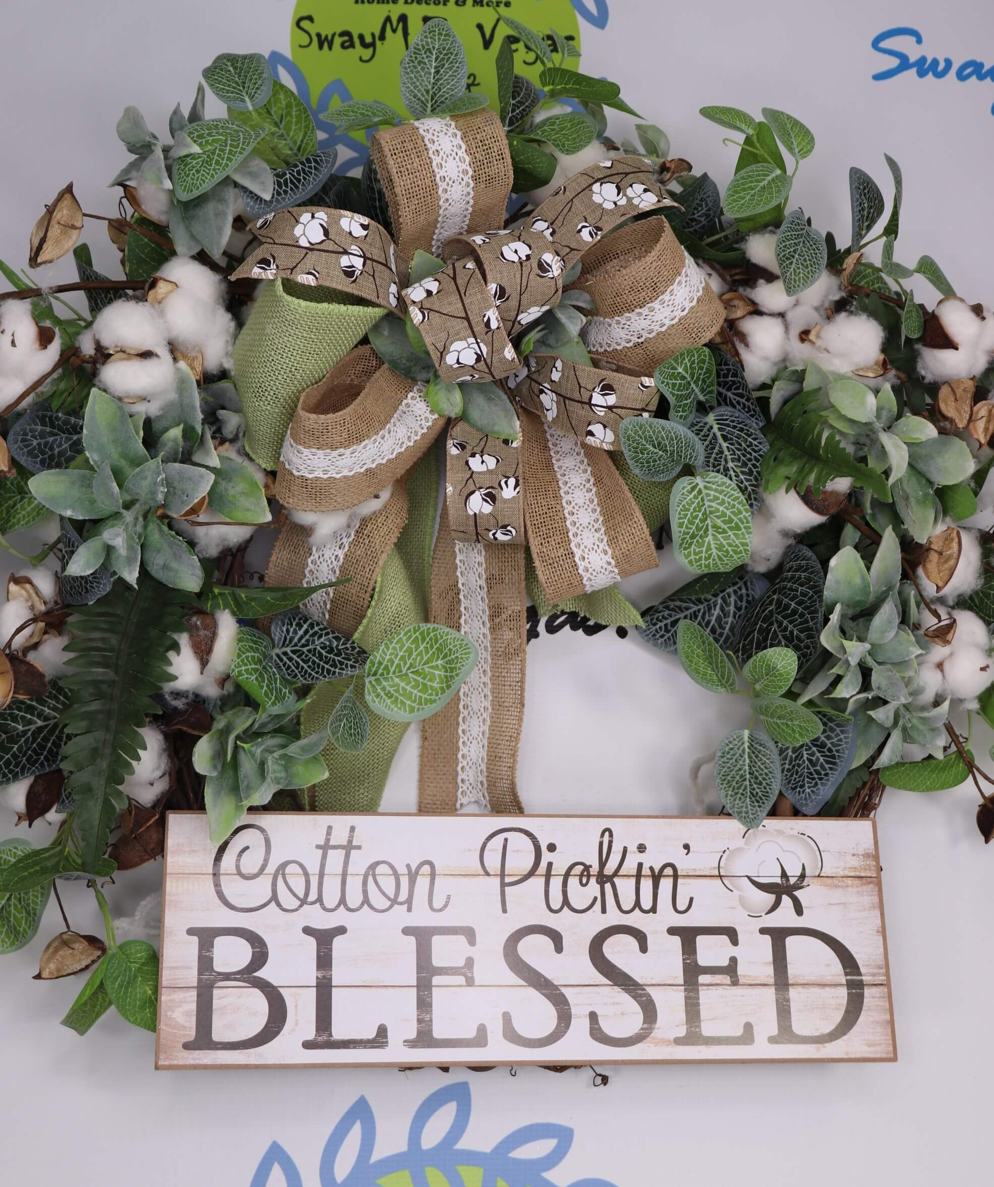 Cotton Pickin Blessed Grapevine Everyday Wreath 0