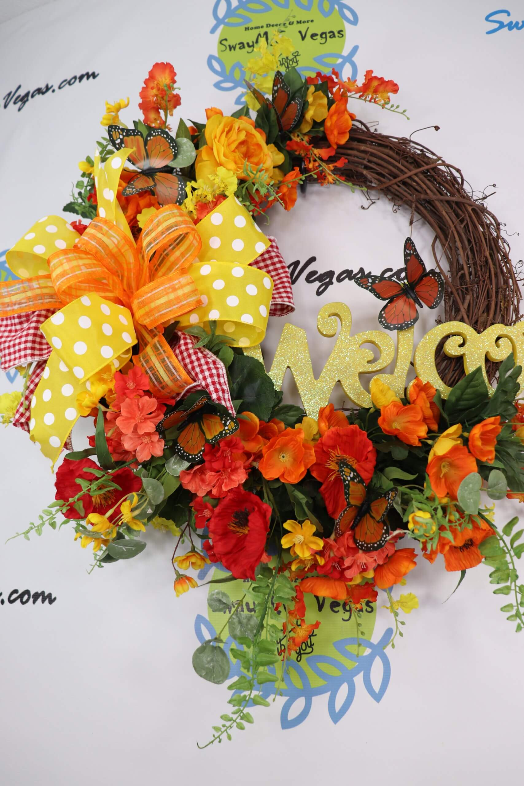 Welcome Spring Summer Grapevine wreath Yellow Orange Red 5 scaled