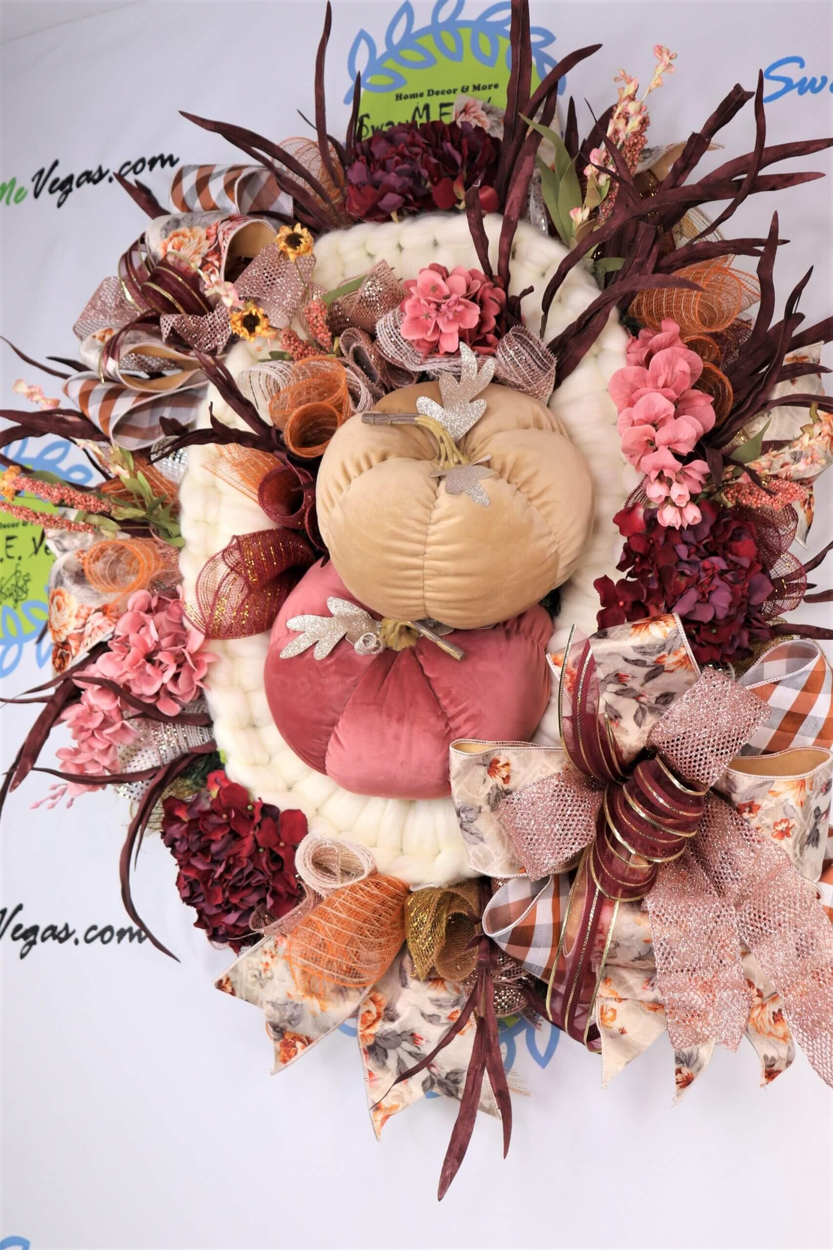 Fall Pink Burgundy Ivory Wreath with Velvet Pumpkins Hydrangeas 12 scaled