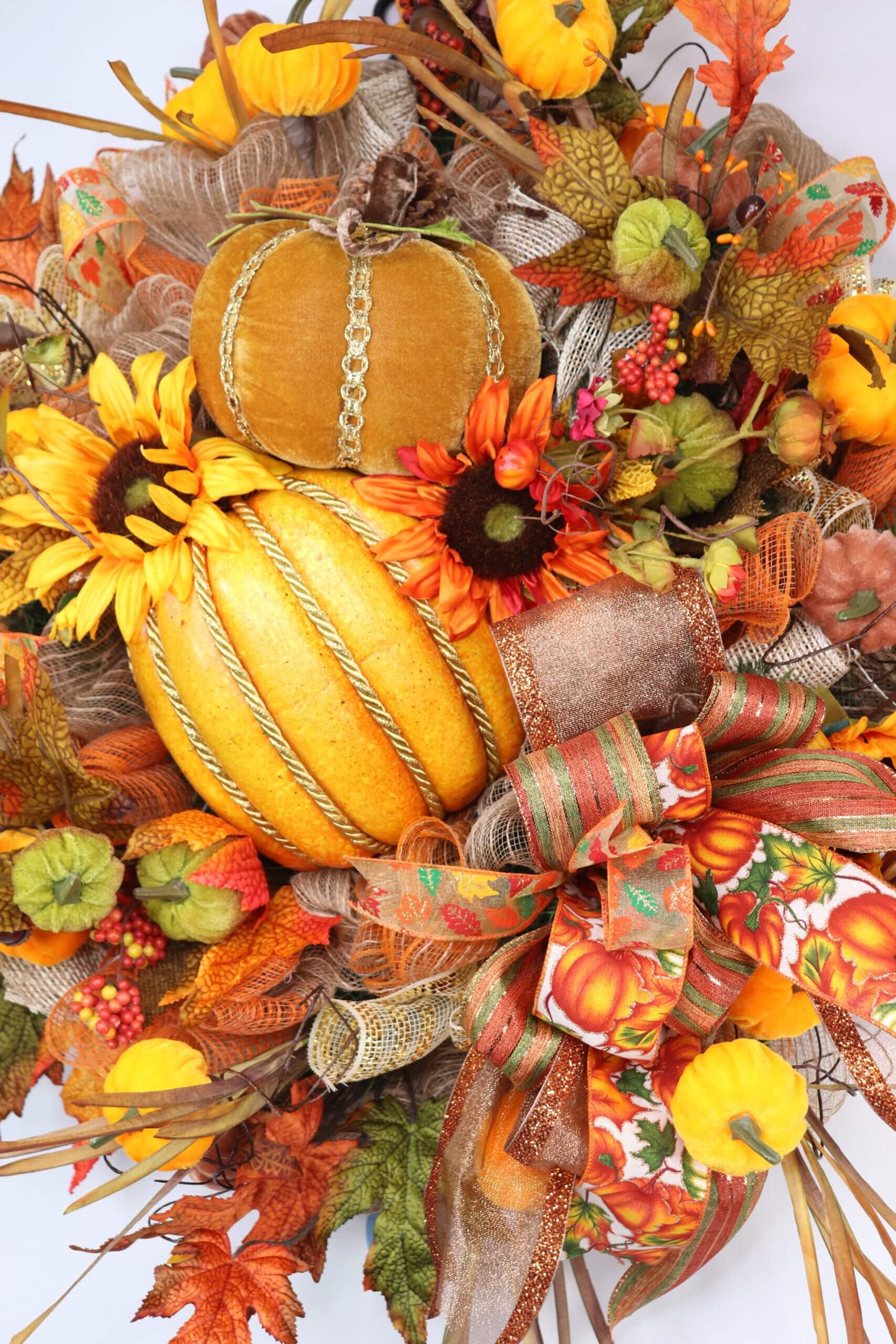 Fall Traditional Wreath with Pumpkins Sunflowers 1 scaled