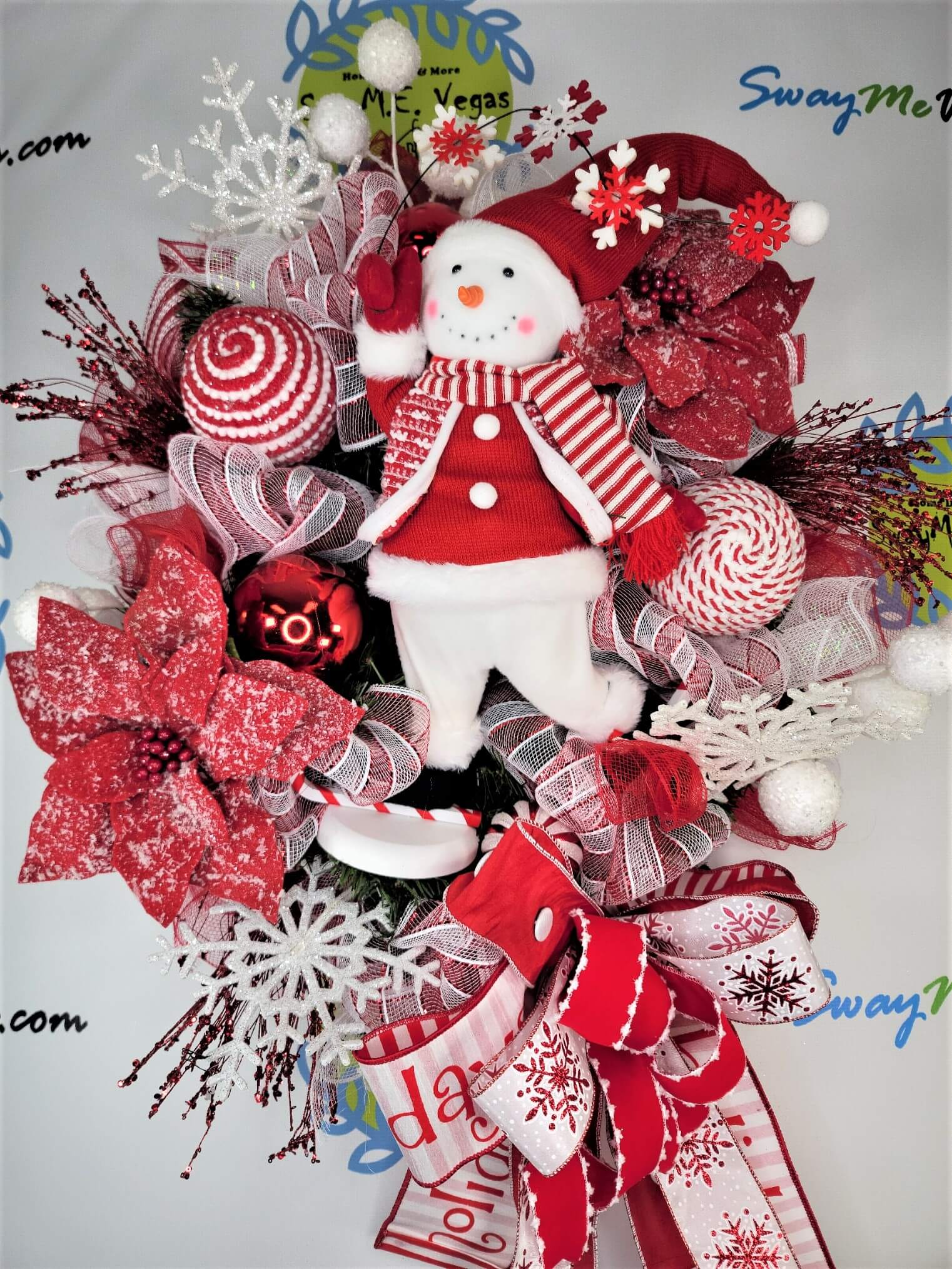 Christmas Snowman Wreath Red White 0