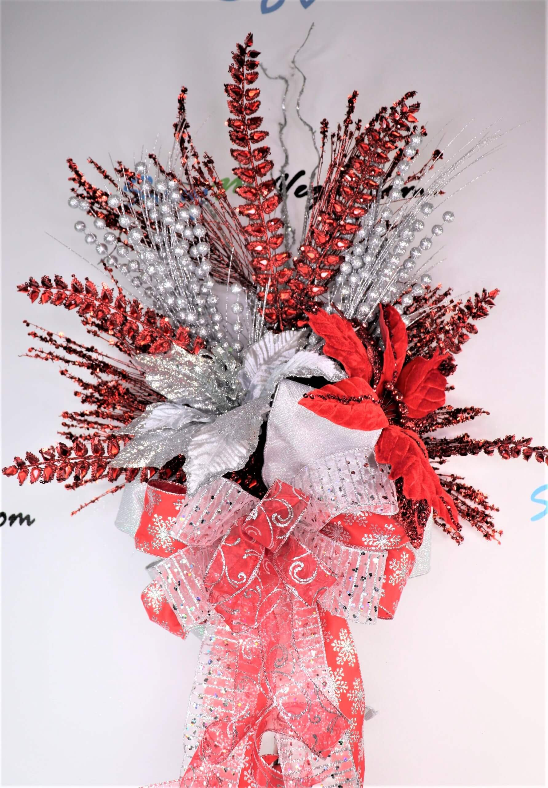 Christmas Tree Topper Red Silver 0 scaled