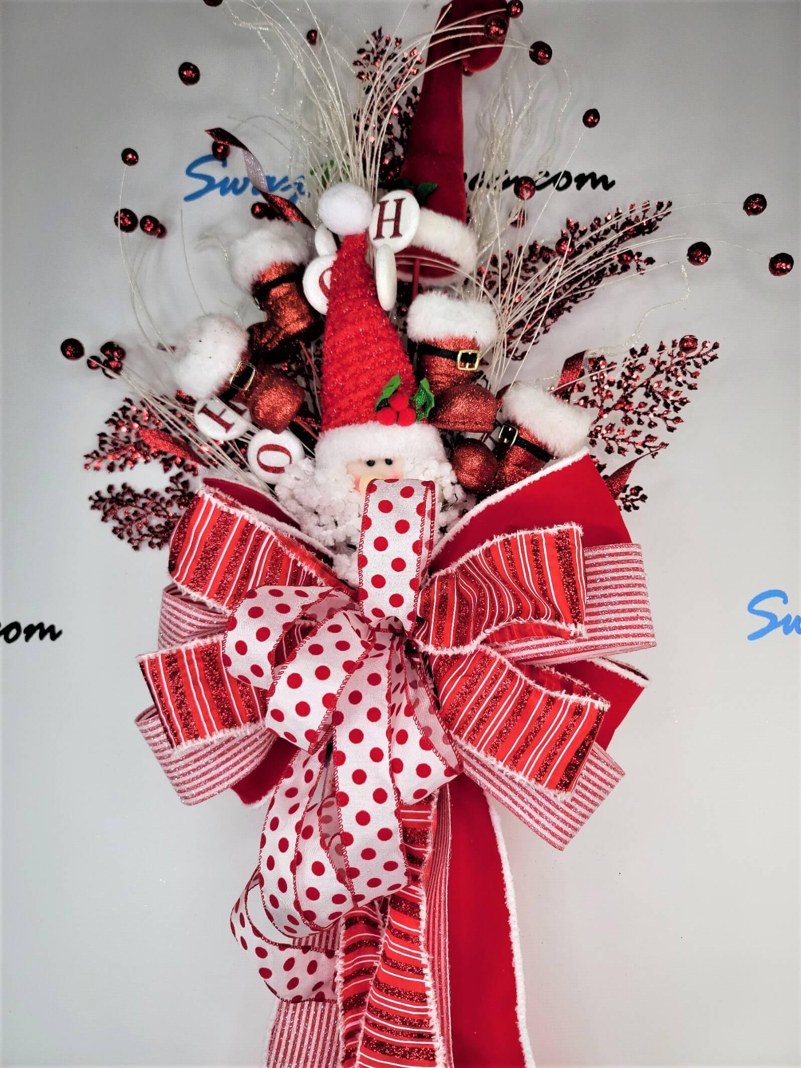 Christmas Tree Topper Red White Santa Theme 1